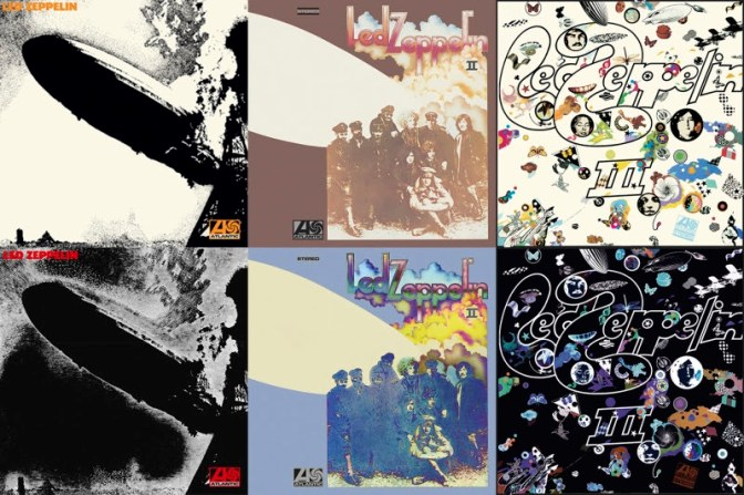 Top Row: the original album art for Led Zeppelin, Led Zeppelin II and Led Zeppelin III; bottom row are the revised art work for the new reissues (Rhino)