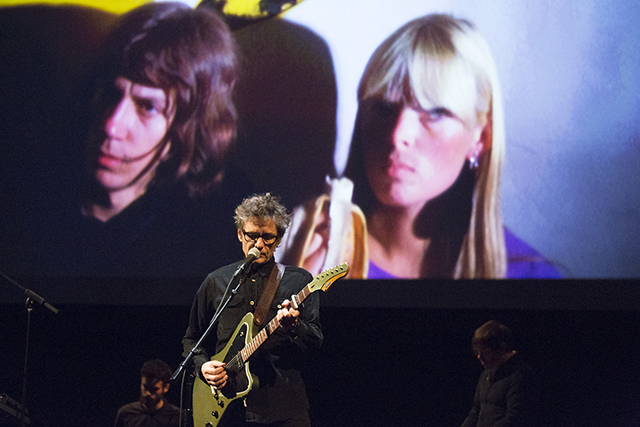 Dean Wareham performing to 'Nico/Antoine' (1966)     16mm film, color, silent, 4.4 minutes at 16fps*     With Antoine (Pierre Antoine Muracciolo), Nico (Photo by Rebecca Greenfield/BAM)
