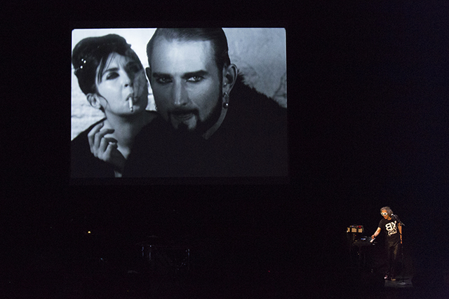 Martin Rev performing to 'Jack Cigarette' (excerpt from 'Batman Dracula') (1964)     16mm film, black and white, silent, 4.4 minutes at 16fps; with Beverly Grant, Jack Smith (Photo by Rebecca Greenfield)