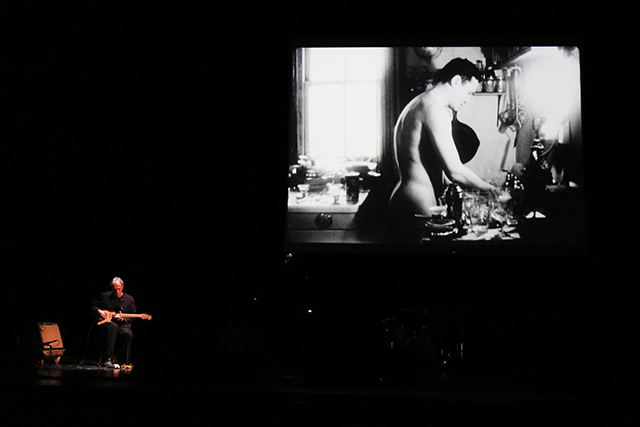 Tom Verlaine performing to 'John Washing' (1963)       16mm film, black and white, silent, 4.5 minutes at 16fps; with John Giorno (Photo by Rebecca Greenfield/BAM)