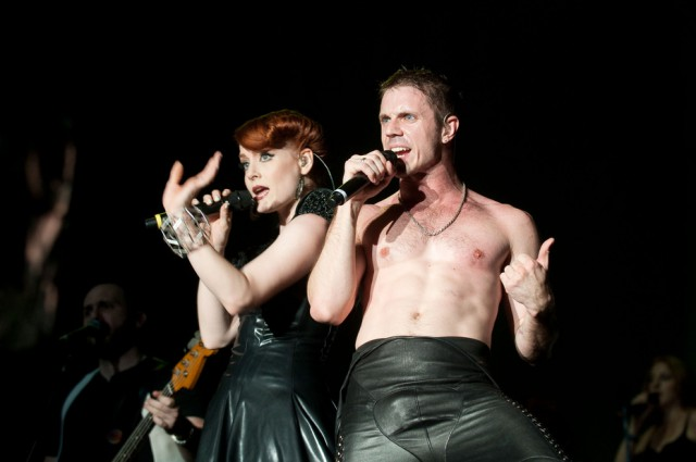 ake Shears and Ana Matronic of the Scissor Sisters performing in 2010 at the Fuji Rock Festival, Japan. (By Tokyo JapanTimes from Tokyo, Japan (Scissor Sisters  Uploaded by Snowmanradio) [CC BY-SA 2.0 (http://creativecommons.org/licenses/by-sa/2.0)], via Wikimedia Commons)