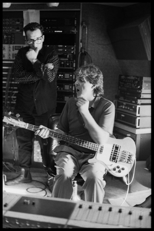 Paul McCartney and Elvis Costello, 'Flowers In The Dirt' recording sessions, 1988. Photo credit: 1988 © Paul McCartney / Photo by Linda McCartney.